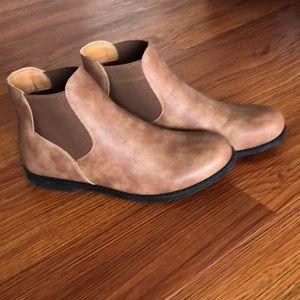 Tan flat booties